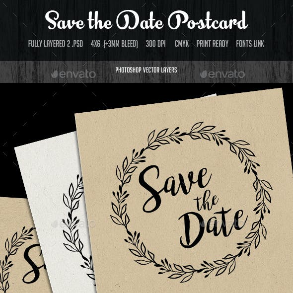 Save the Date Invitation Postcard