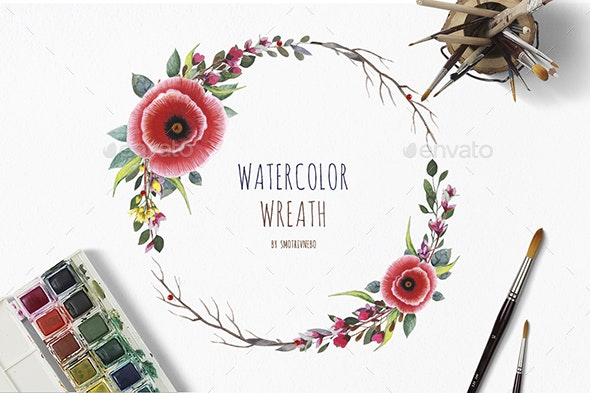Watercolor Wreath with Flowers, Foliage and Branch - Flourishes / Swirls Decorative