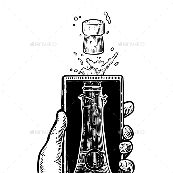Male Hand Hold Smartphone with Bottle of Champagne