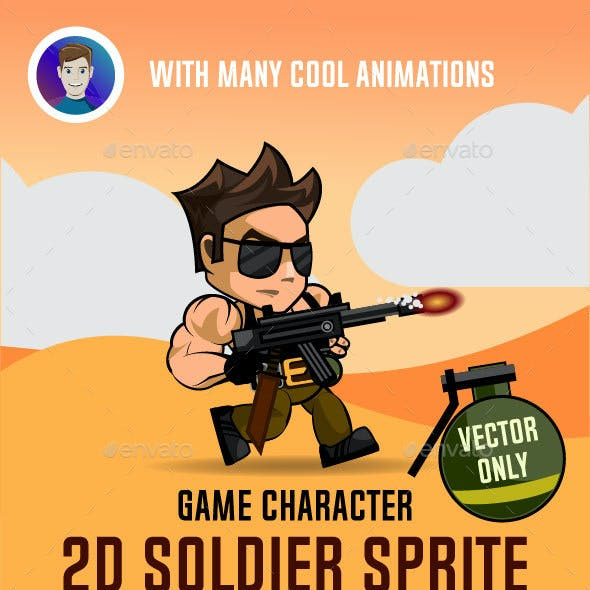 Soldier 2D Game Character