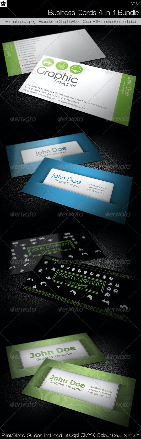 Business cards 4 in 1 Bundle - Corporate Business Cards