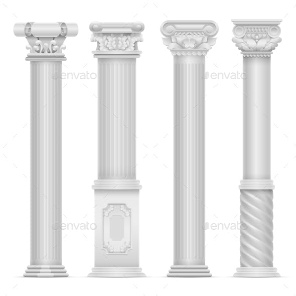 Realistic White Antique Roman Column Vector Set