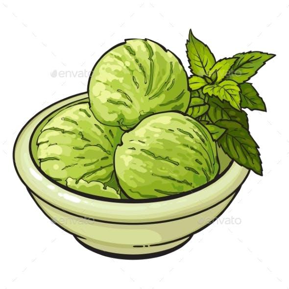 Bowl of Matcha Green Tea Ice Cream Scoops