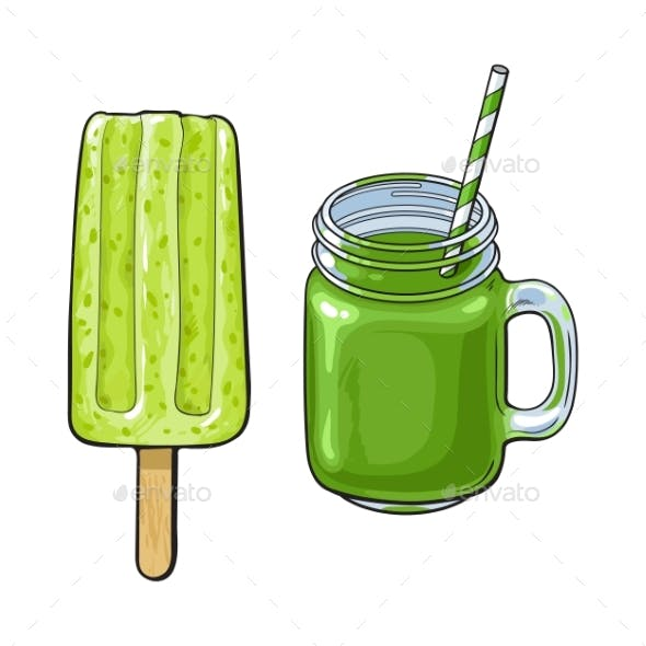 Matcha Green Tea Desserts - Smoothie and Popsicle