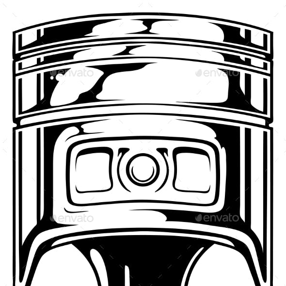 Graphic Black Car Engine Piston