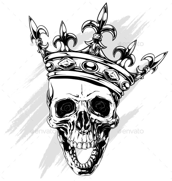 Graphic Human Skull With King Crown By Gb Art Graphicriver