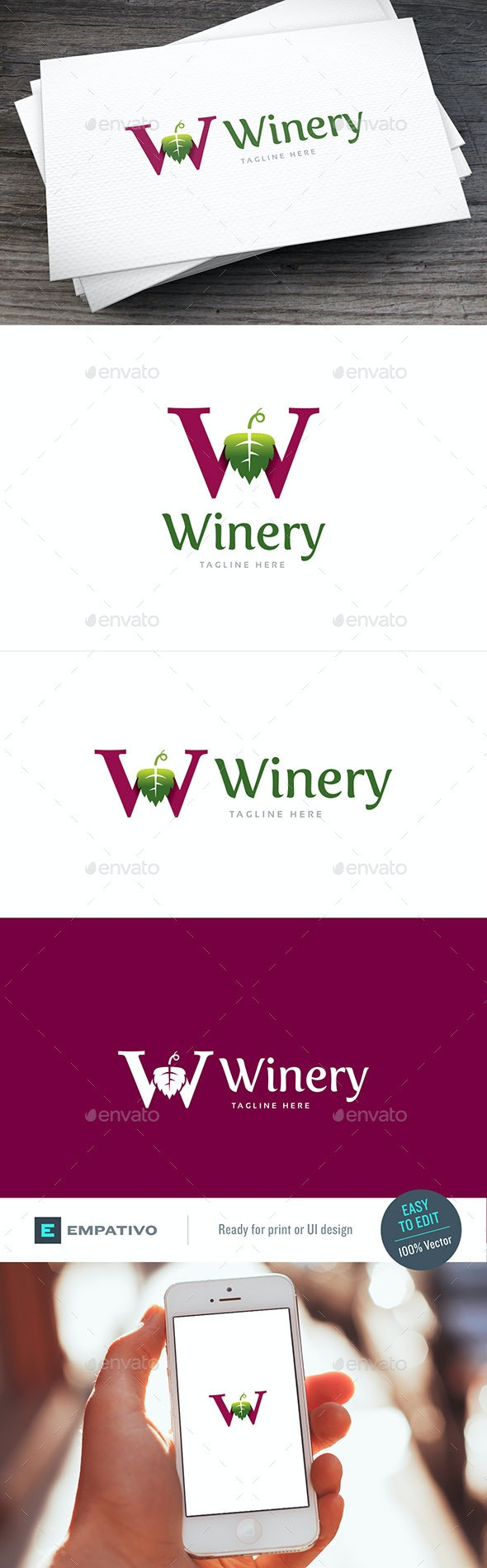 Winery W Letter Logo Template - Food Logo Templates