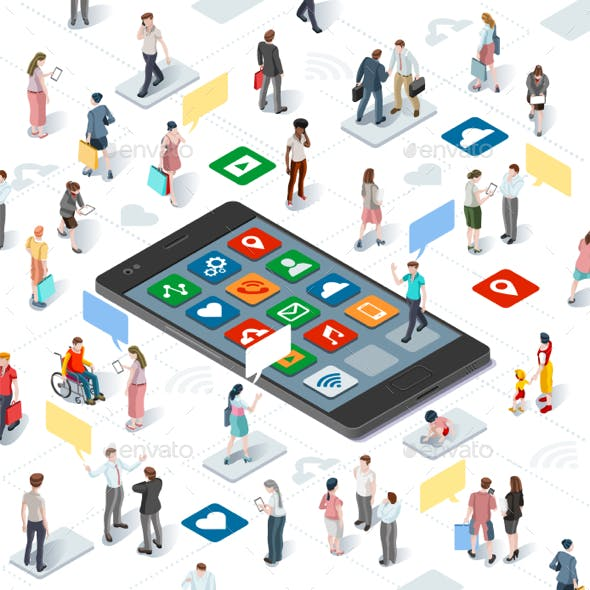 People Connecting Smartphone Vector Isometric Infographic