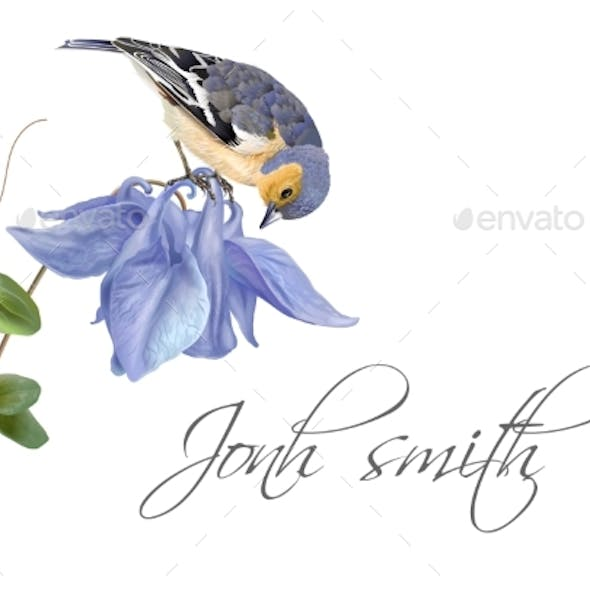 Blue Flower Bird Name Card