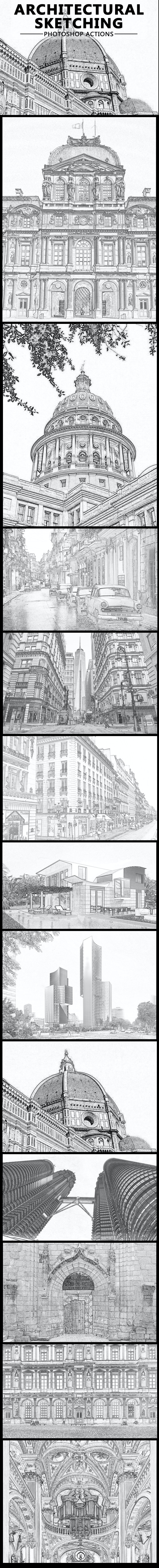 Architectural pencil sketching photoshop action actions photoshop