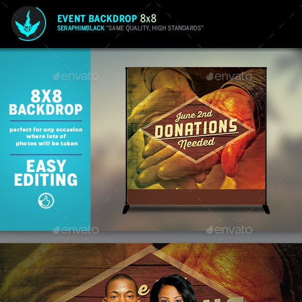 Donations 8x8 Event Backdrop Template