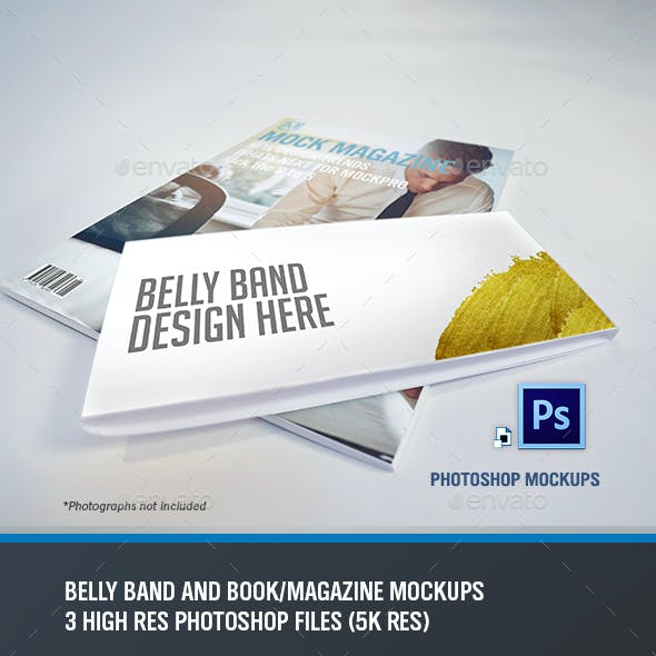 Belly Band and Book/Magazine Mockups
