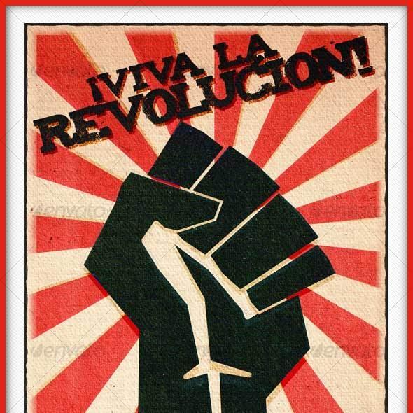 REVOLUTION FIST AGED PAPER POSTER