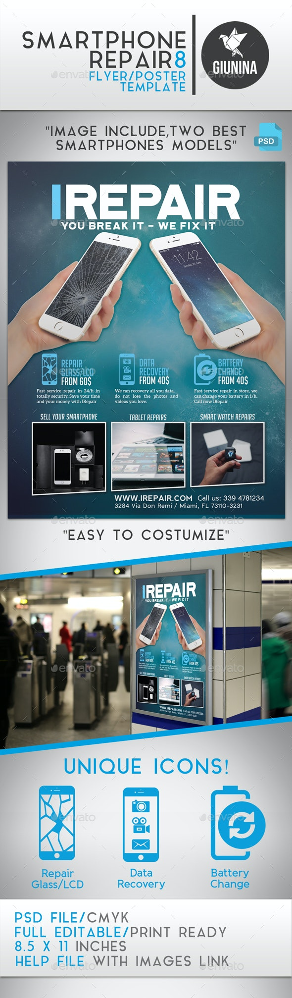 Smartphone Repair 8 Flyer/Poster - Commerce Flyers