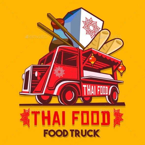 Food Truck Thai Food Fast Delivery Service Vector Logo - Vectors