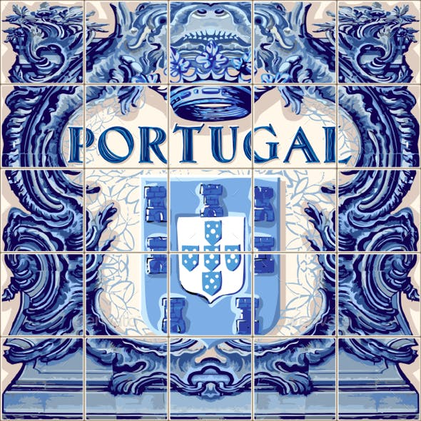 Portugal Ceramic Tile Azulejo Vector Fridge Magnet