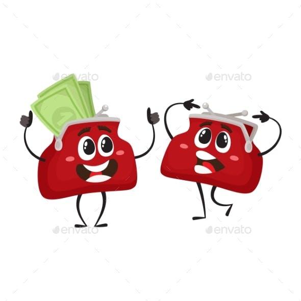 Vector Money Wallet Character Flat Illustration