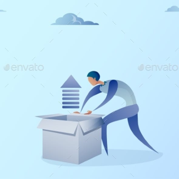 Business Man Opening Box With Financial Arrow Up