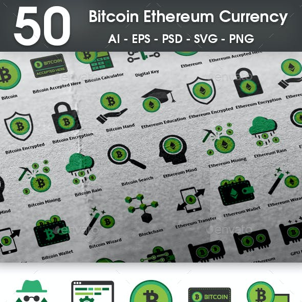 50 Bitcoin Ethereum Currency