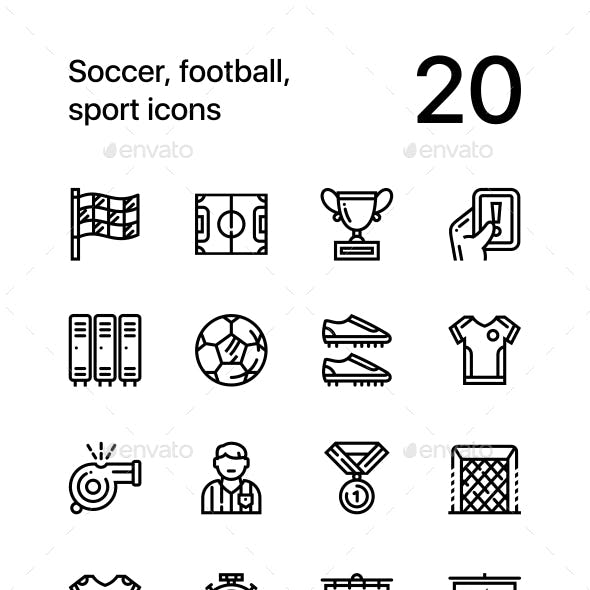 Soccer, Football, Sport Icons for Web and Mobile Design Pack