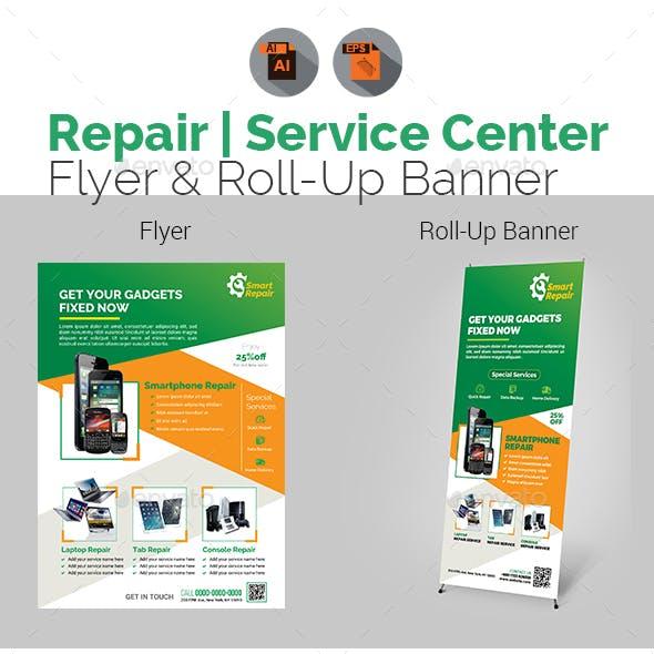 Tech Repair Center Flyer & Roll-Up Banner