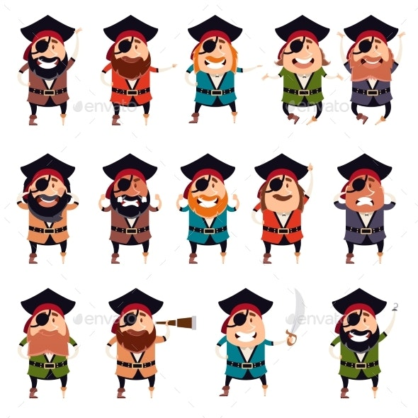 Set of Flat Pirate Icons - Miscellaneous Vectors