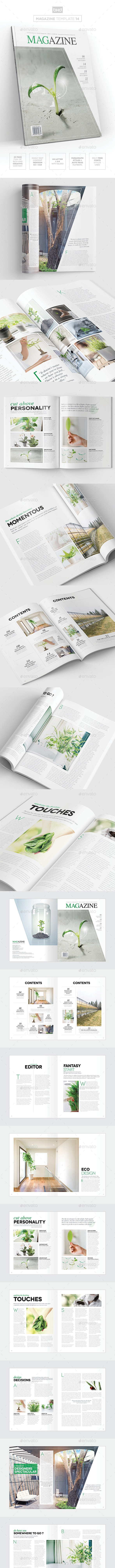 Magazine Template - InDesign 24 Page Layout V14 - Magazines Print Templates