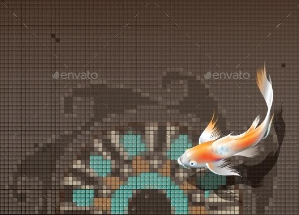 Koi Carp in Pool - Animals Characters