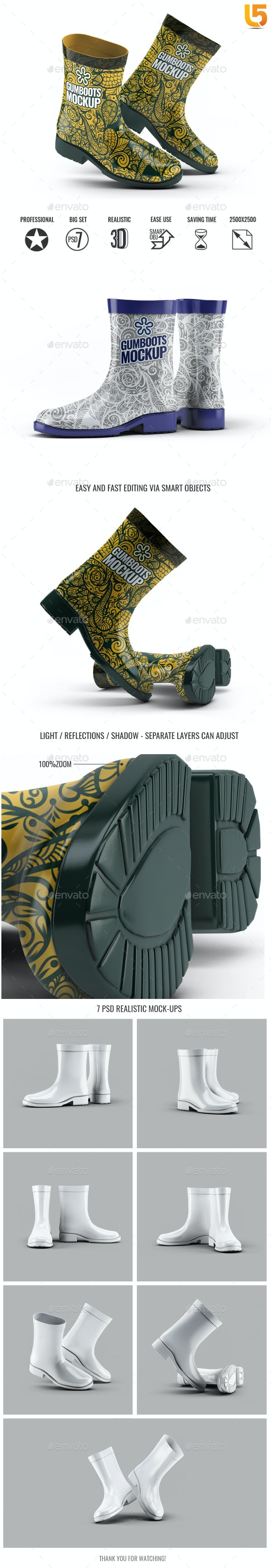 Short Ankle Gumboots Mock-Up - Miscellaneous Product Mock-Ups