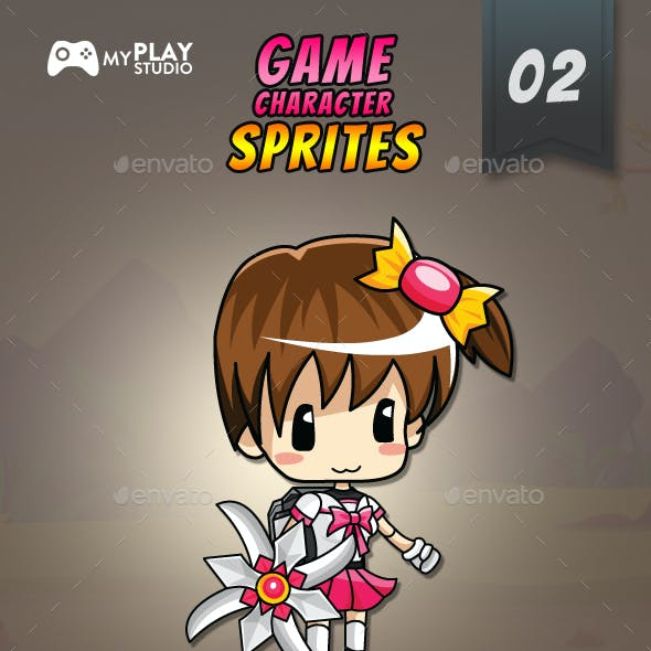 School Girl 2D Game Character Sprites 2