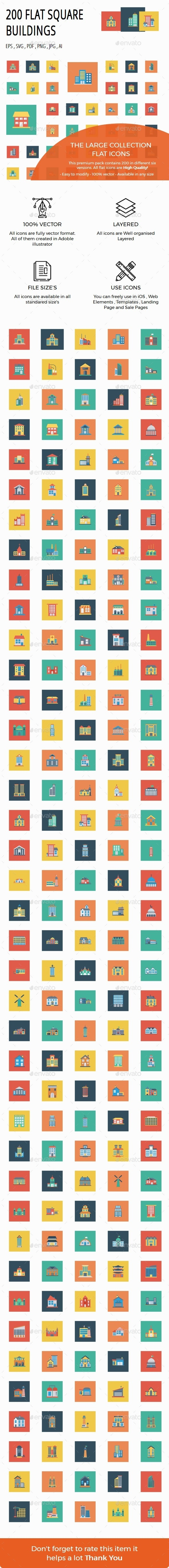 200 Building Flat Square icons