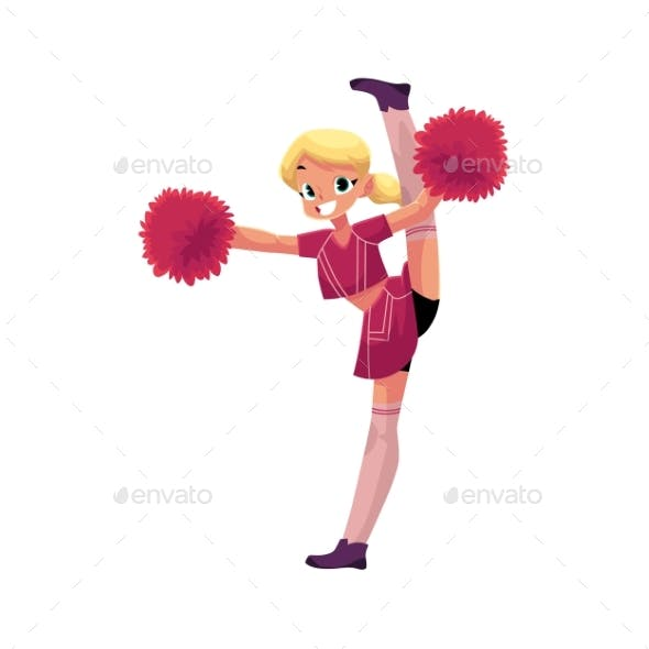 Vector Smiling Cheerleader Dancing with Pom-Poms