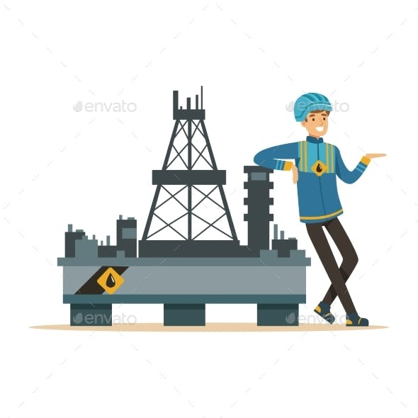 Oilman Standing Next To an Oil Rig Drilling