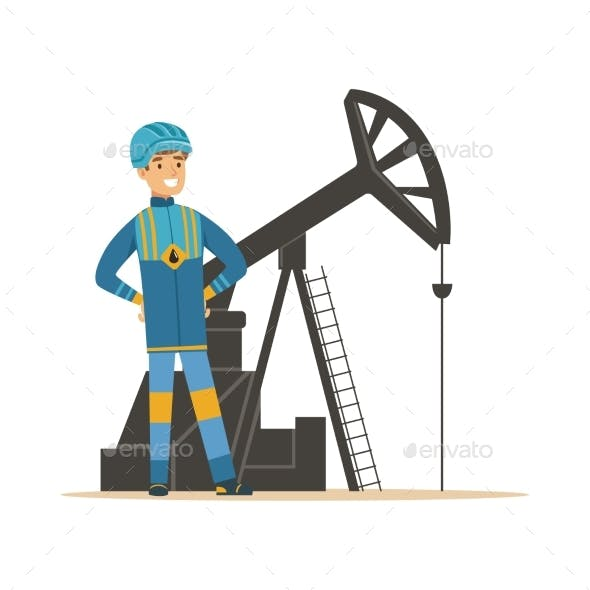 Smiling Oilman Standing Next To an Oil Rig