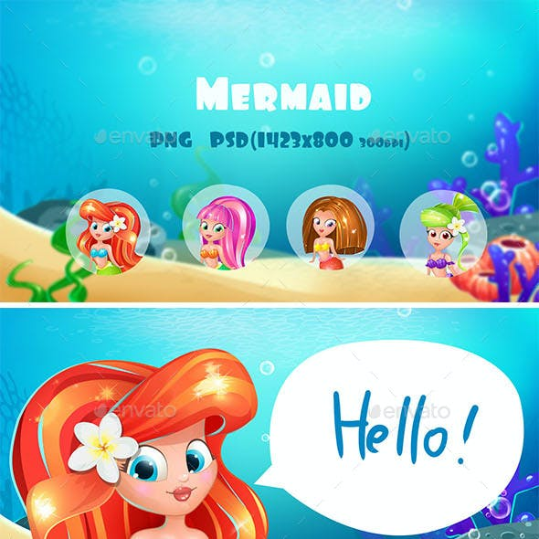 Mermaid Characters and Background