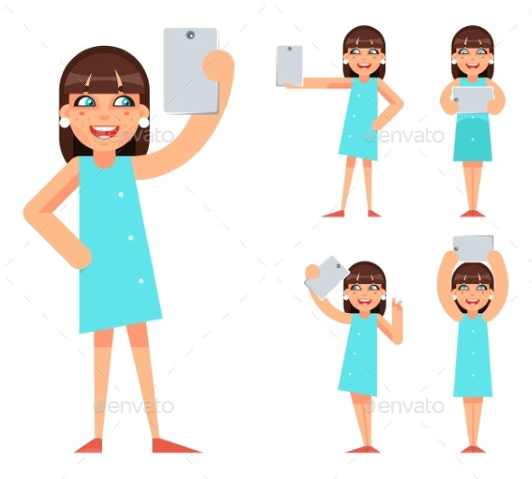 Selfie Photo Portrait Young Girl Geek Hipster - People Characters