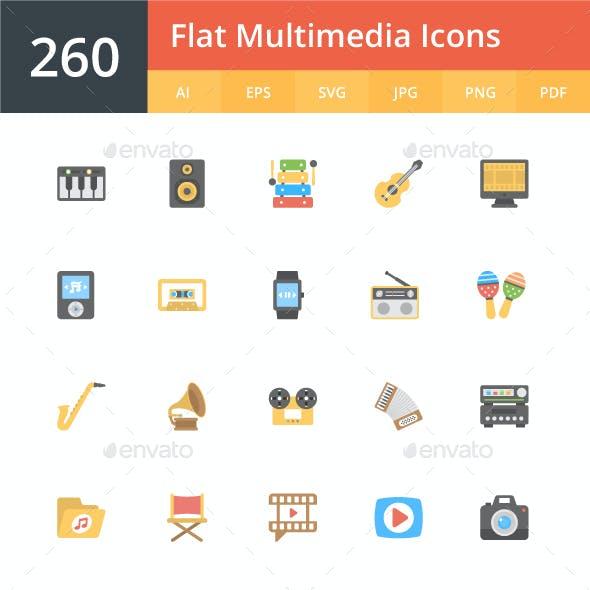 260 Flat Multimedia Icons