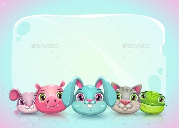 Childish Horizontal Banner Template - Animals Characters