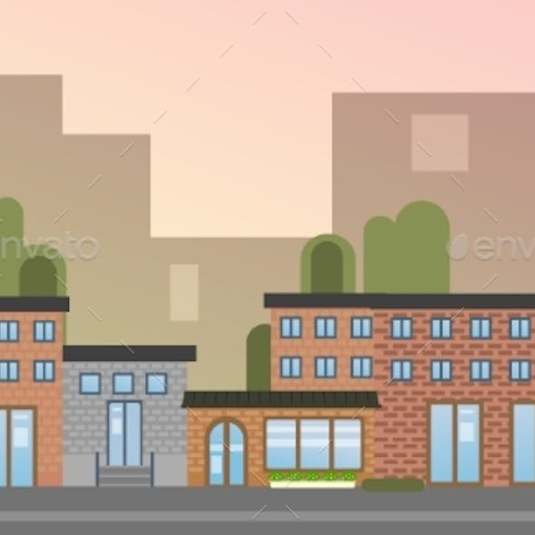 City Building Houses Town View Silhouette Skyline