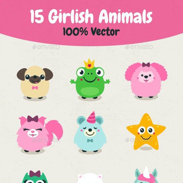 Vector Girlish Animals
