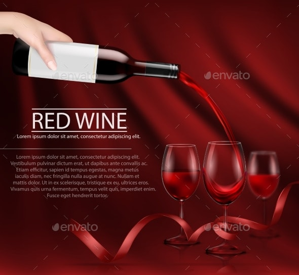 Vector Illustration of a Hand Holding a Glass Wine - Food Objects