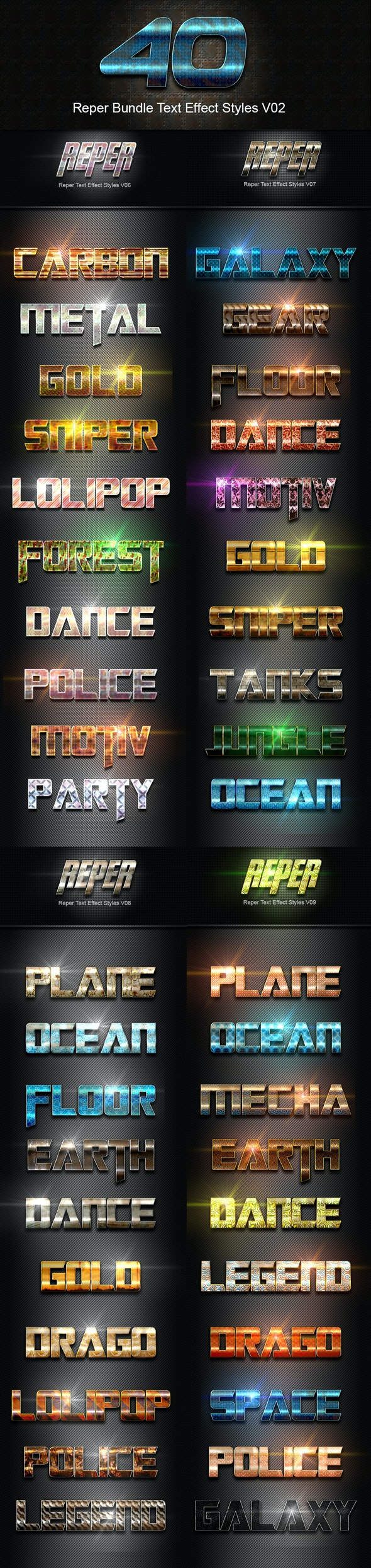 40 Reper Bundle Text Effect Styles V02 - Text Effects Styles