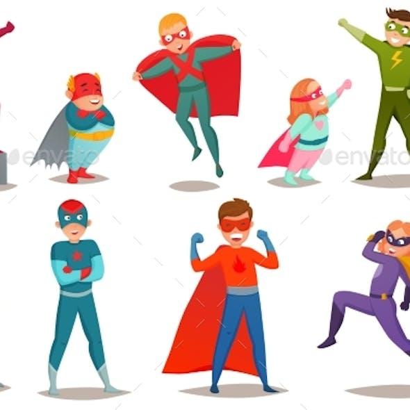 Kids Superheroes Retro Set