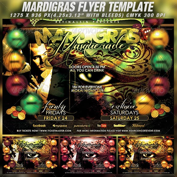 Mardigras Masquerade Flyer Template
