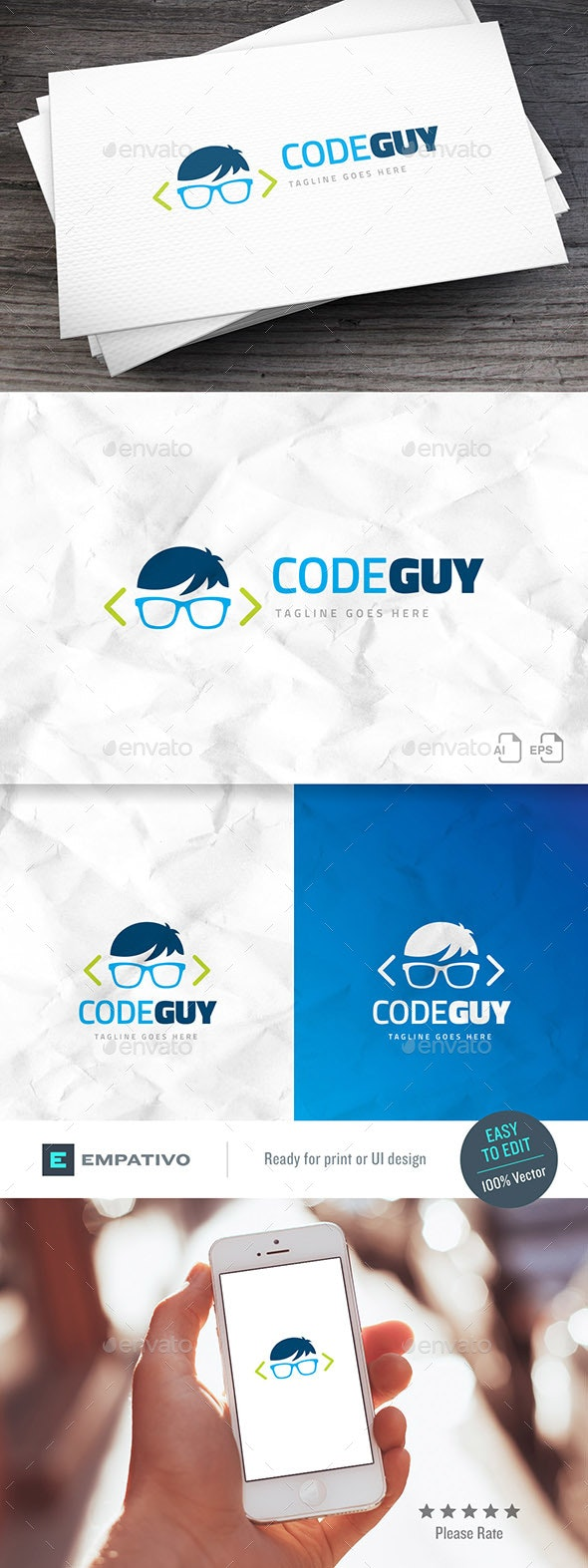 Code Guy Logo Template - Humans Logo Templates