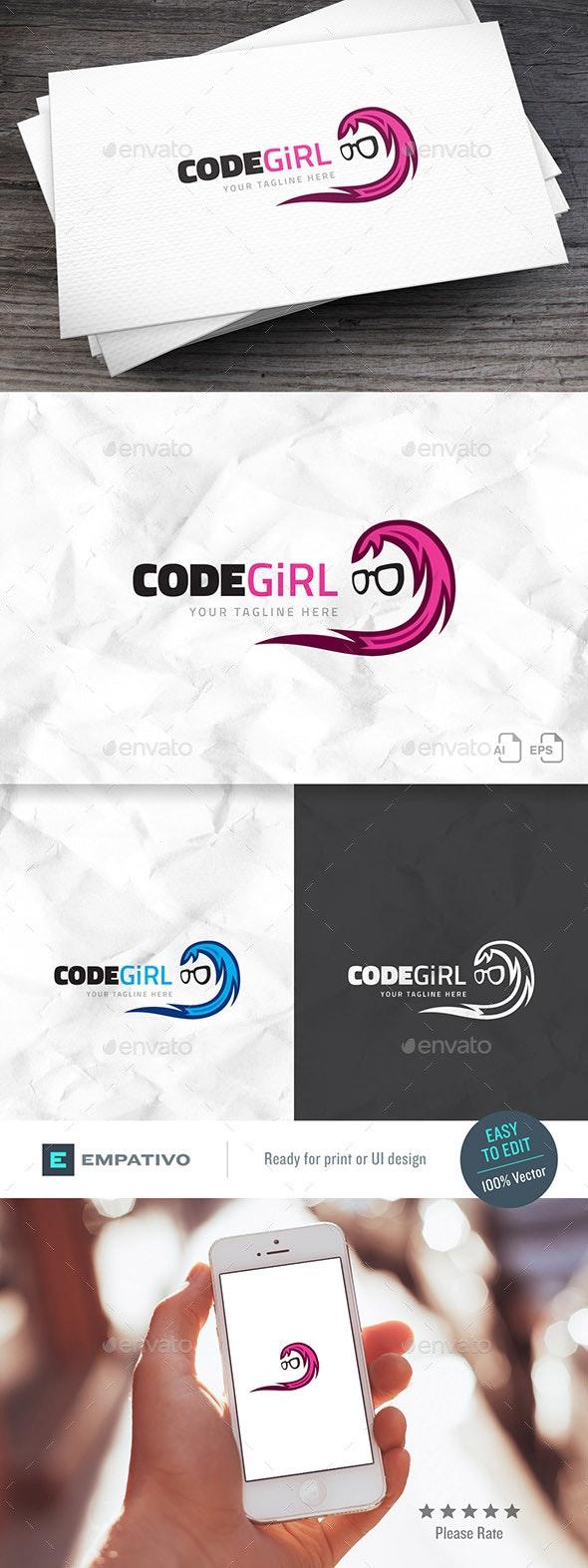 Geek Girl Logo Template - Humans Logo Templates