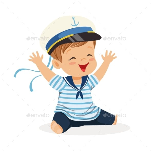 Smiling Boy Character Wearing a Sailor Costume