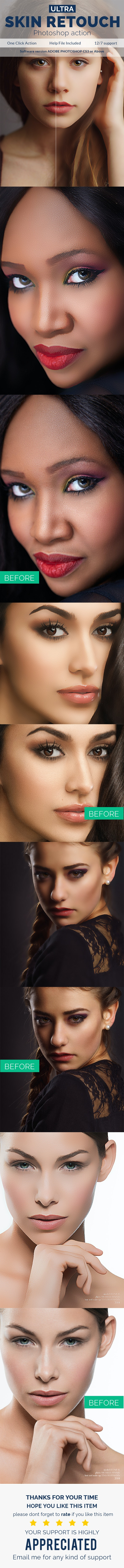 Ultra Skin Retouch - Photoshop Action - Photo Effects Actions