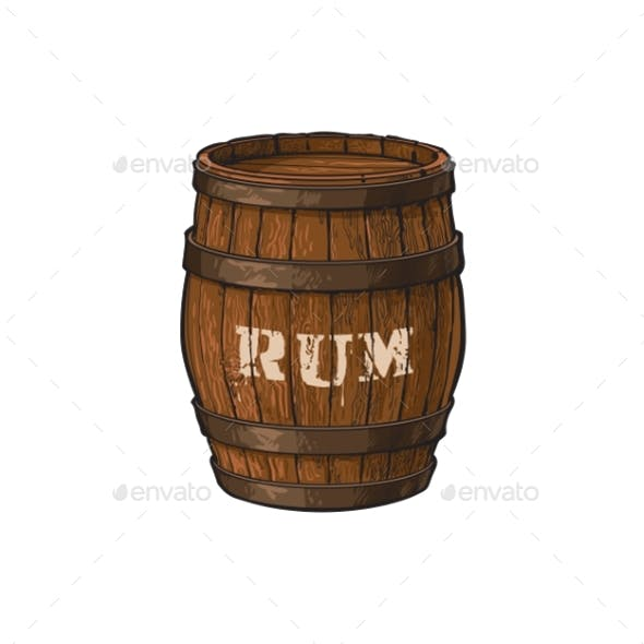 Vector Wooden Rum Barrel Isolated Illustration