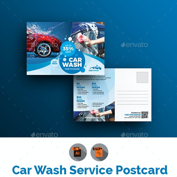 Car Wash Postcard Template